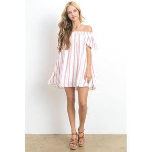 7c148dd7c6a6 New Off Shoulder Stripe Mini Dress